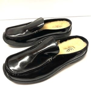 UGG Women's Black Patent Leather Slip On Mules 8